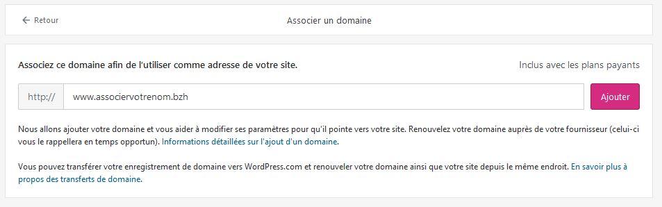 associer nom de domaine bzh WordPress 5